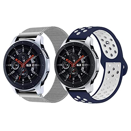 Newways for Galaxy Watch 46mm Bands, Magnetic Mesh Loop Stainless Steel Band + Soft Silicone Sport Replacement Strap Wristband for Galaxy Smartwatch, ...