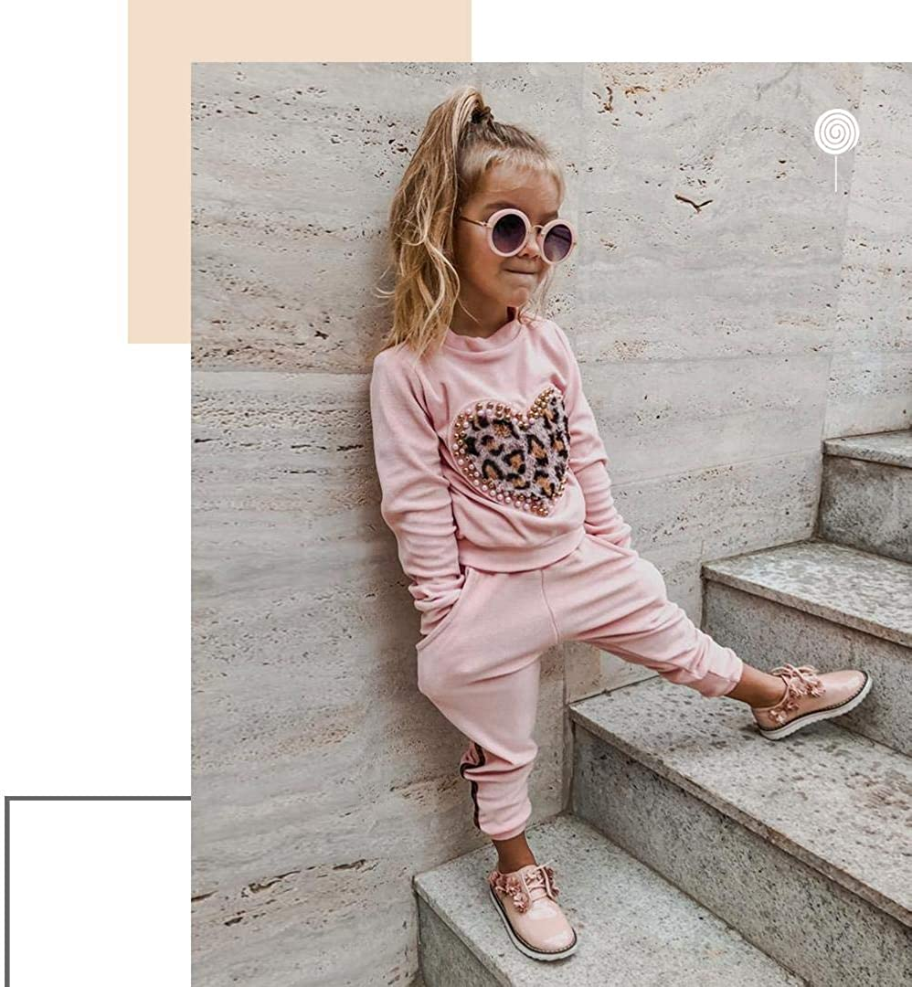 Toddler Baby Girl Leopard Outfit Kids Fall Long Sleeve Heart T-Shirt Tops Long Pants Leggings Clothes Set
