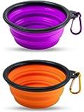 Premium Reisenapf-Set faltbar, extrem robuste Näpfe aus Silikon für Hunde und Katzen, hochwertiger Wasser-Napf und Futter-Napf für unterwegs (1 x orange 1 x lila)