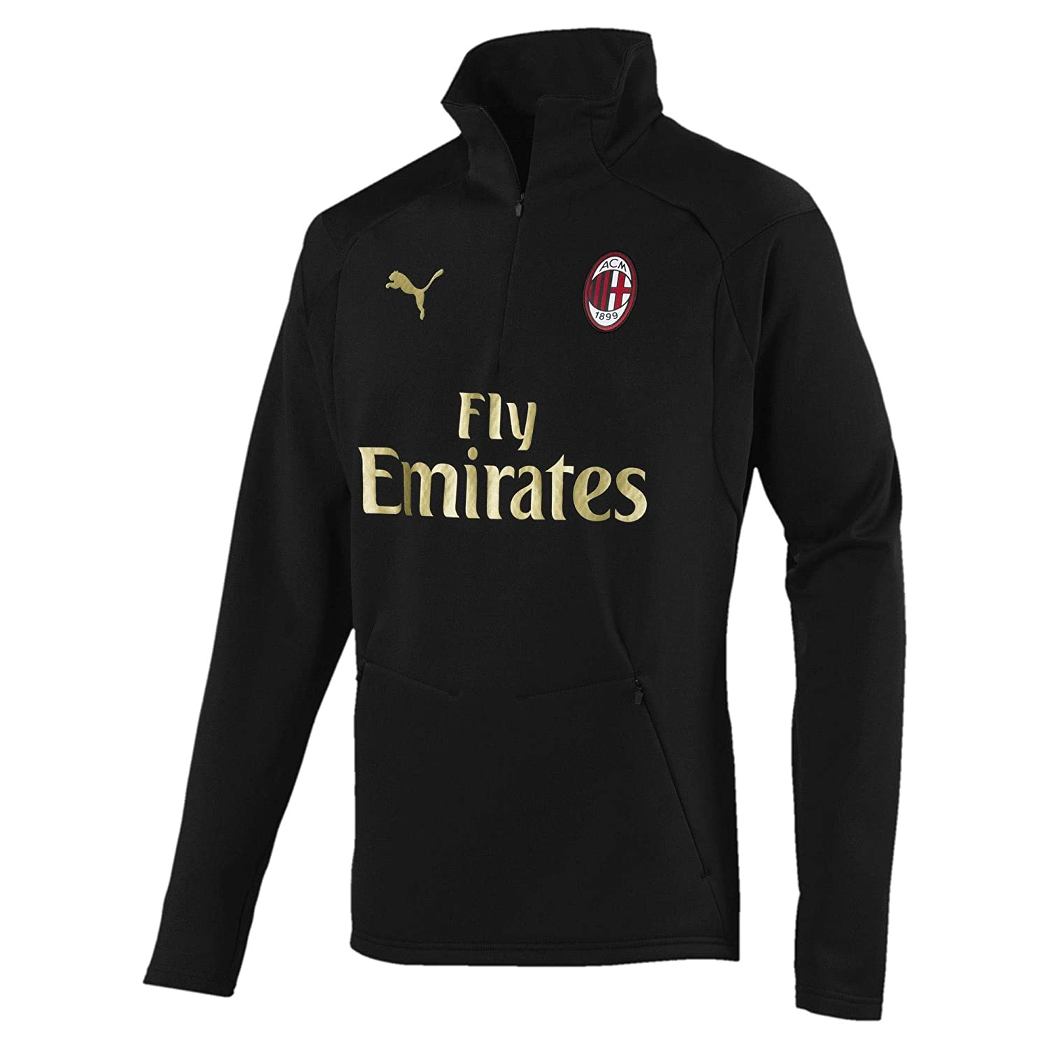 Black Large Adults 2018-2019 AC Milan Puma Training Fleece (Black)