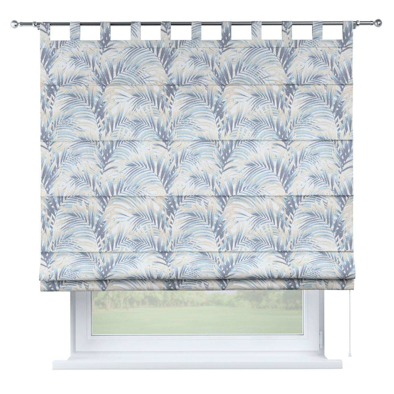 Dekoria Raffrollo Verona ohne Bohren Blickdicht Faltvorhang Raffgardine Wohnzimmer Schlafzimmer Kinderzimmer 100 × 170 cm blau-beige Raffrollos auf Maß maßanfertigung möglich