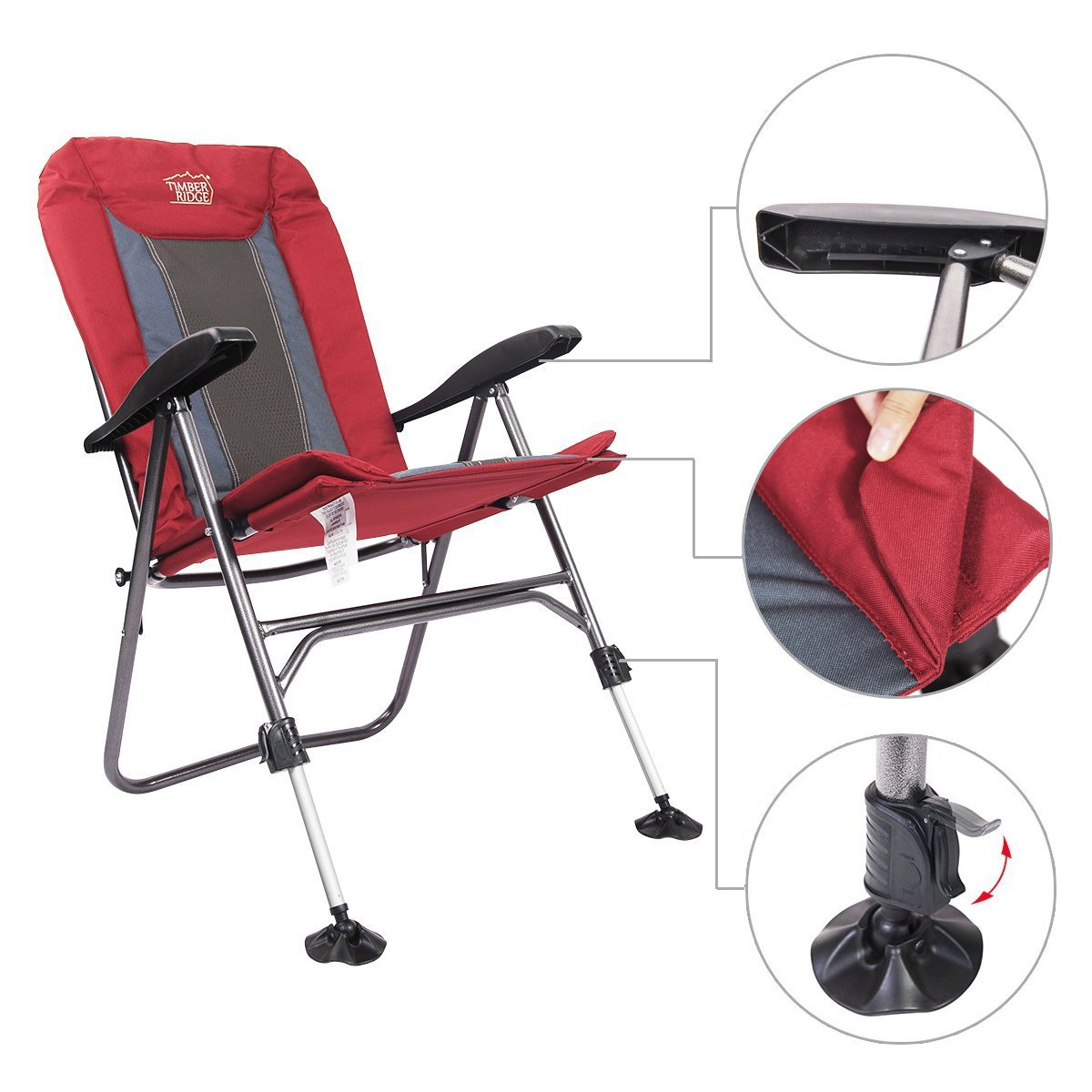 Timber Ridge Camping Folding Chair With Adjustable Back
