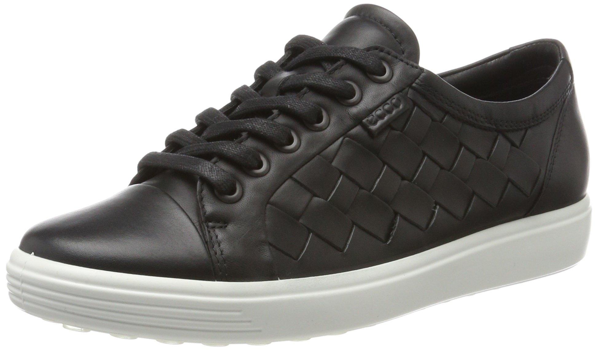 ECCO Women's Women's Soft 7 Woven Tie Fashion Sneaker, Black, 38 EU/7-7.5 M US