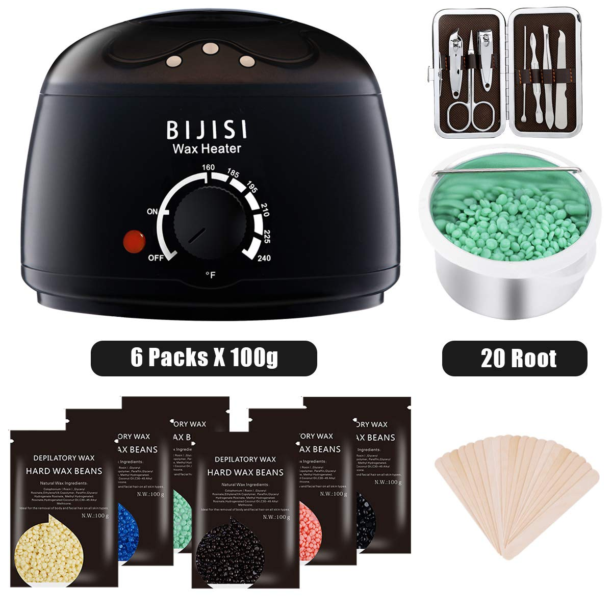Wax Warmer, Bijisi Hair Removal Waxing Kit with 6 Hard Wax Beans and 20 Wax Applicator Sticks, DIY Depilatory Machine for Arm, Leg and Toe Wax Warmer, Bijisi Hair Removal Waxing Kit with 6 Hard Wax B