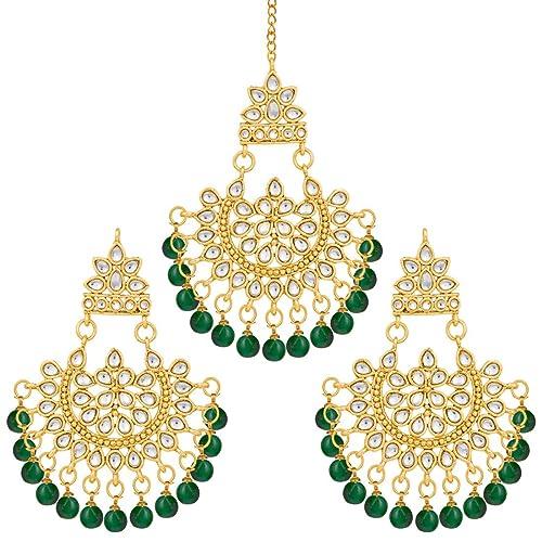Aheli Beautiful Indian Traditional Wedding Faux Kundan Beaded Maang Tikka with Earrings Set for Women Ethnic Fashion Jewelry