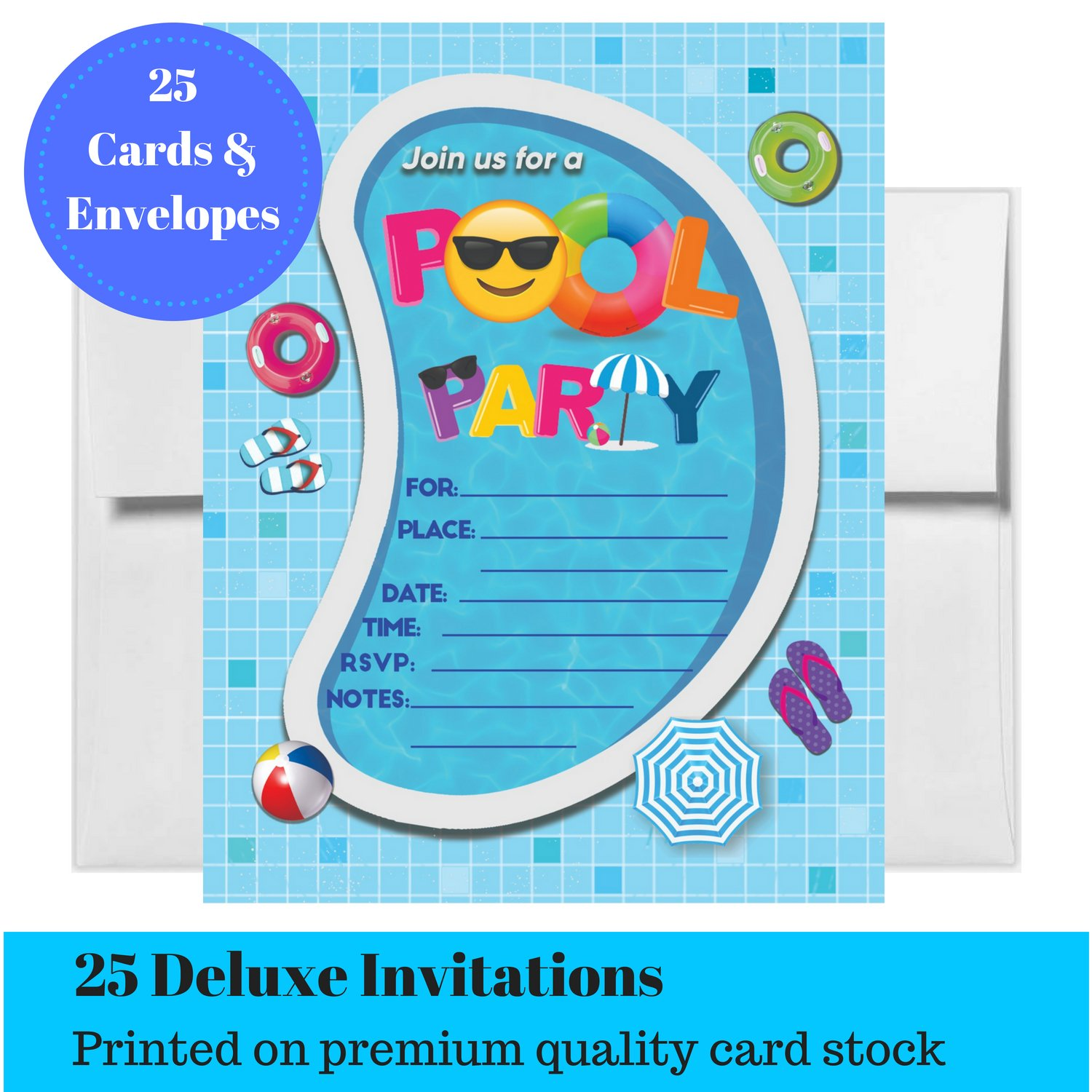 Pool Party Invitations Summer Birthday Bash Splash Pad Water Park Invites 25 Fill In With Envelopes For Boys Or Girls