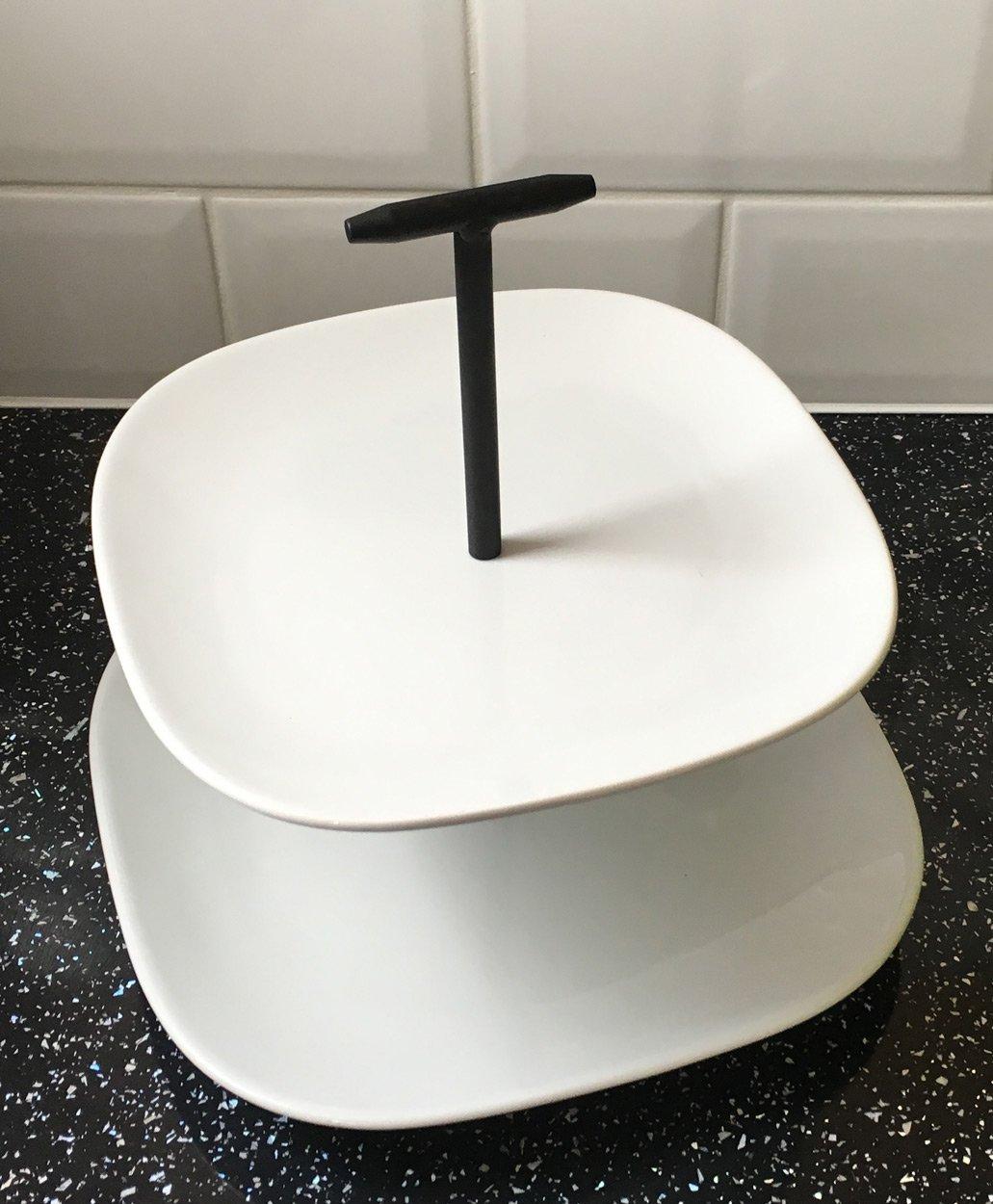 cer/ámica vidriada, superblanca Vintage Black + dise/ño de color blanco Soporte para tartas de cer/ámica de 2/pisos