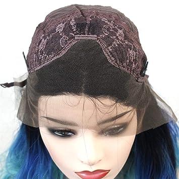 JYA SILK Peluca, Azul Negro Moda Mujer Largo y Rizado Cabello Hembra Cordón Peluquín (Tamaño : 20 inch/508 mm): Amazon.es: Hogar