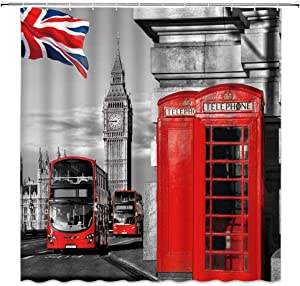 London Shower Curtain Red Telephone Booth in Street Romantic City Scenery Old Street Big Ben Vintage Traditional Local Cultural England UK Flag Retro Fabric Bathroom Curtain Set 70x70IN with Hooks