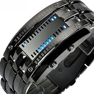 Reloj Deportivo Brazalete LED Digital, Fecha de Acero Inoxidable para Hombres Reloj LED de Acero Inoxidable.