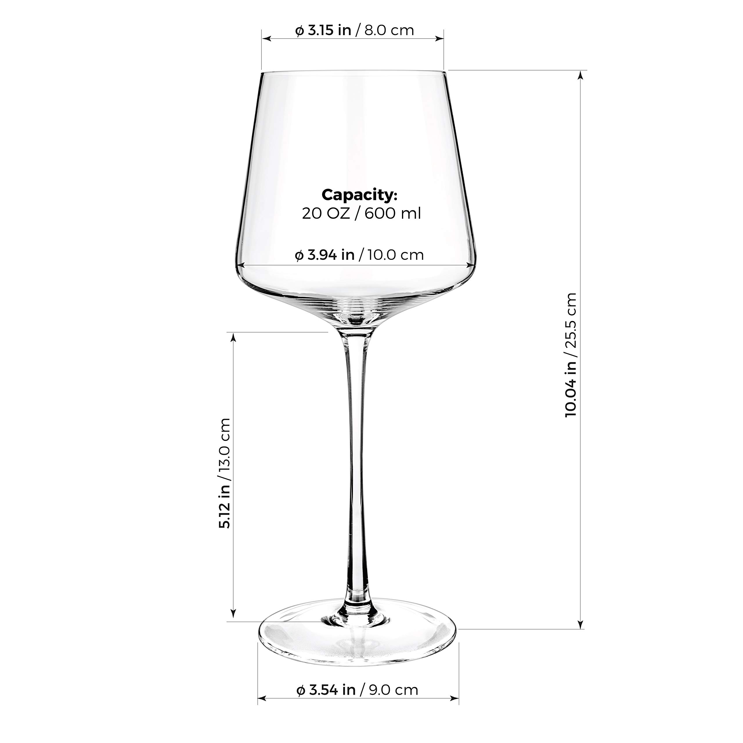 Luxbe - Crystal Wine Glasses 20.5-ounce, Set of 4 - Red or White Wine Large Glasses - 100% Lead Free Glass - Pinot Noir - Burgundy - Bordeaux - 600ml by Luxbe (Image #5)