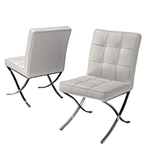 Pandora Modern Button Tufted Bonded Leather Dining Chairs (Set of 2), White and Silver