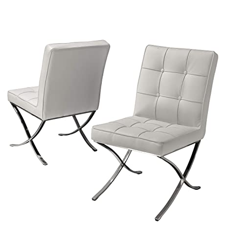 Excellent Pandora Modern Button Tufted Bonded Leather Dining Chairs Set Of 2 White And Silver Spiritservingveterans Wood Chair Design Ideas Spiritservingveteransorg