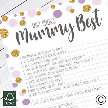 The Little Party Company Baby Shower Game Who Knows Mummy Best
