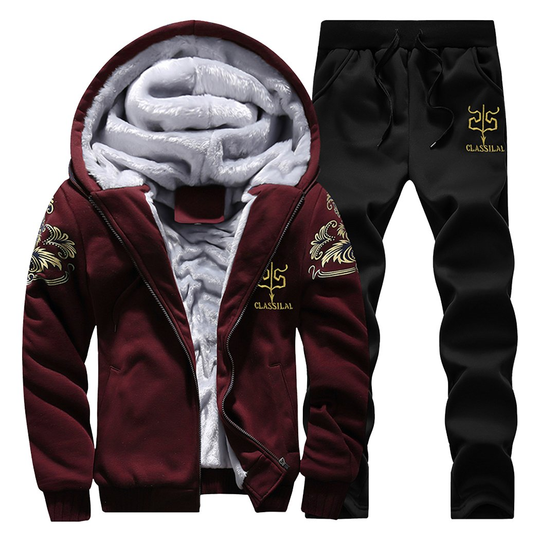 Modern Fantasy Men's Arrow Winter Thicken Lined Hoodie Sweatsuit Athletic Warm Tracksuit 6931475371521