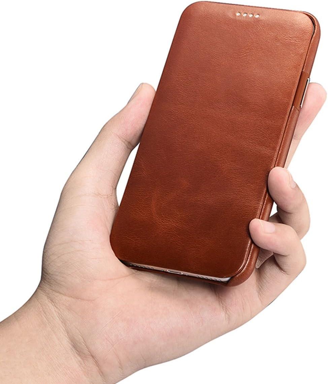 NOVADA Coque Cuir iPhone X /Étui Housse /à clapet en Cuir v/éritable pour iPhone X Marron