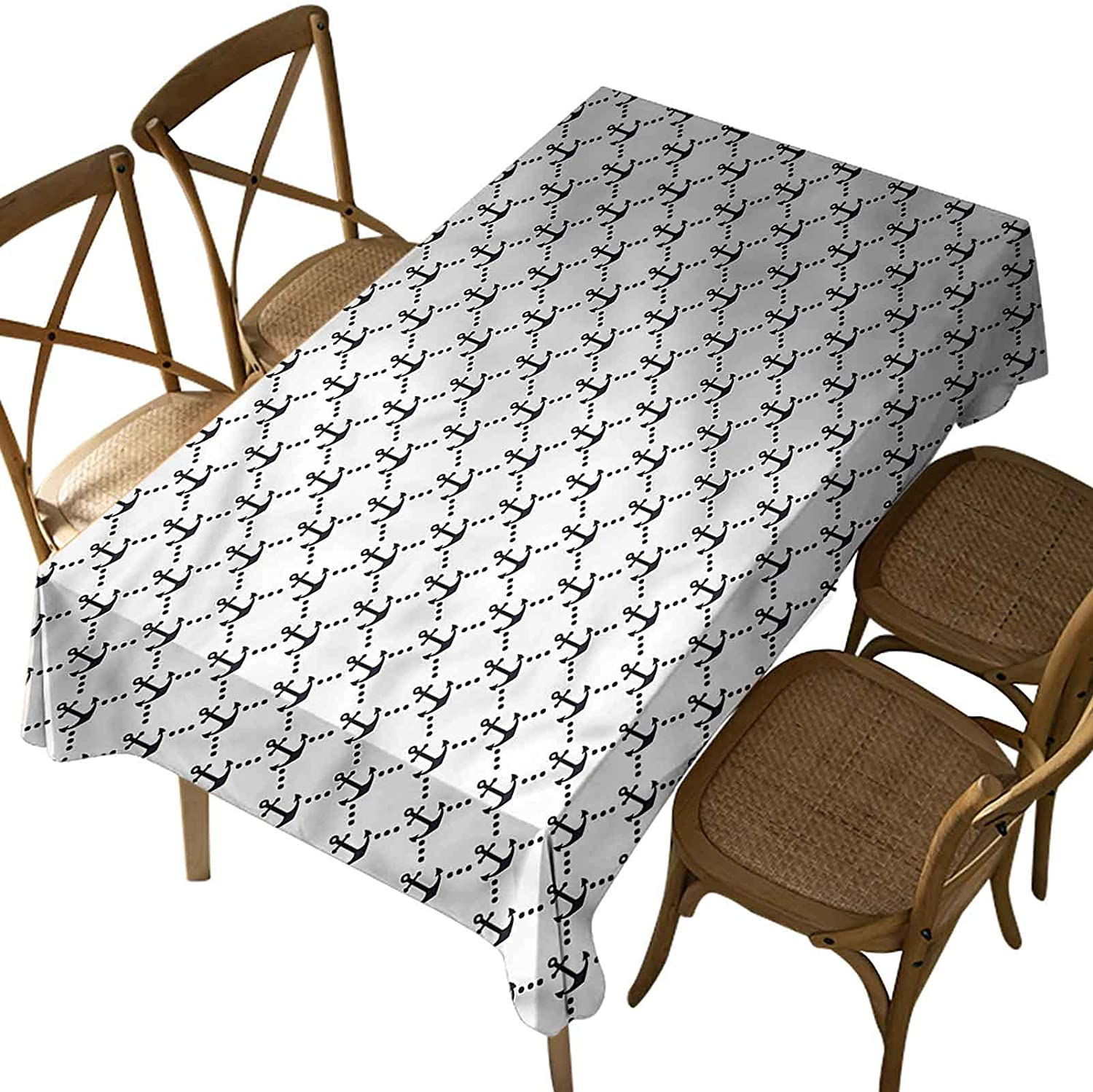 Rectangular Polyester Tablecloth,Anchor,Dotted Tile with Anchors,Indoor Outdoor Spillproof Tablecloth Table Cover,for Spring Summer Patio Garden Tabletop Decor Oblong 60 x 84 Inch