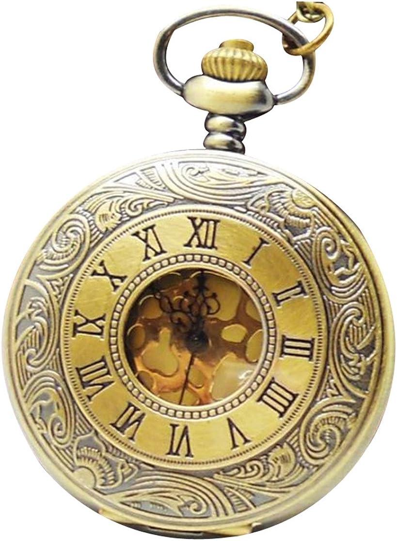 Infinite U Clásicas Palabras Romanas Doradas Unisex Reloj de bolsillo de Cuarzo Grande Collar con Cadena Larga