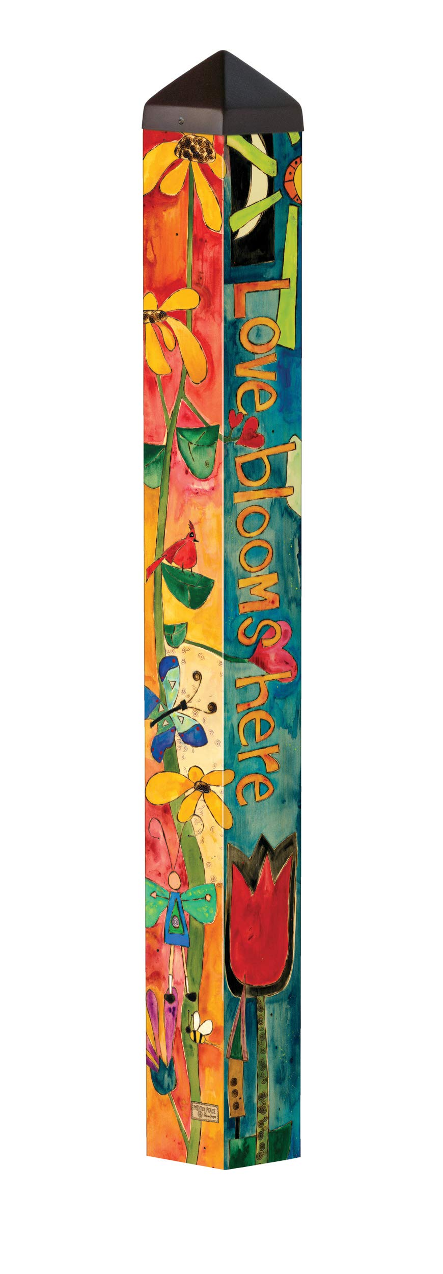 Studio M Love Garden Art Pole Bold Floral Outdoor Decorative Garden Post, Made in USA, 40 Inches Tall by Studio M (Image #1)