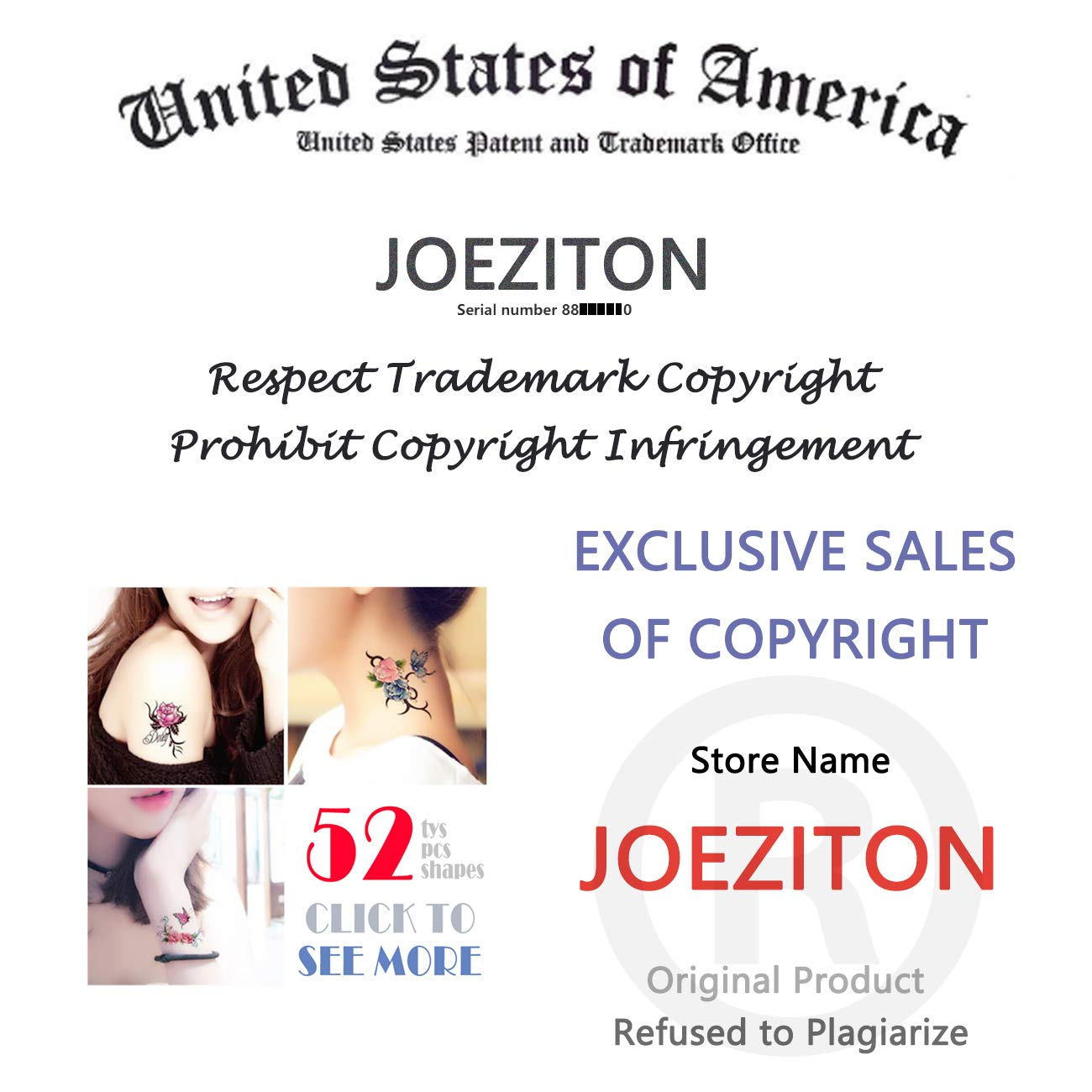 JOEZITON 52 Sheets Different Rose Temporary Tattoos For Women