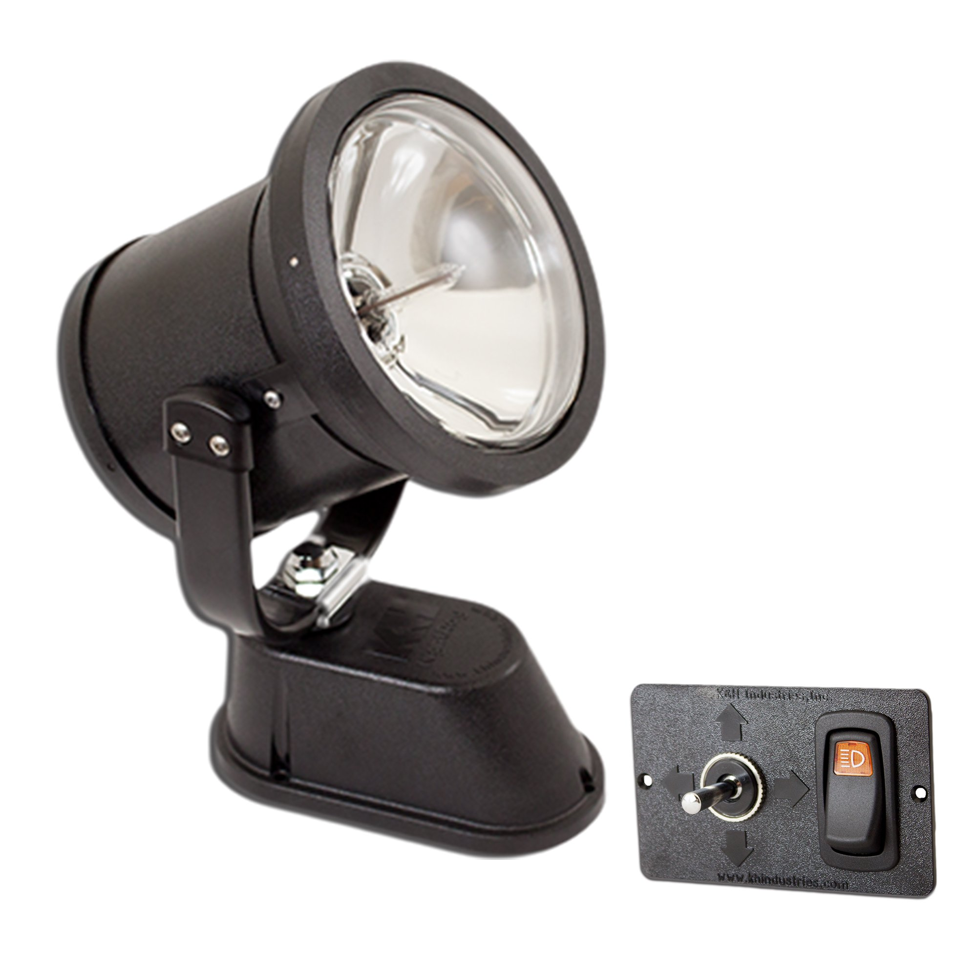 KH Industries NR-955-20 Vehicle Mounted NightRay Spotlight with Hardwired Dash Control Panel, 750000cp Spotlight
