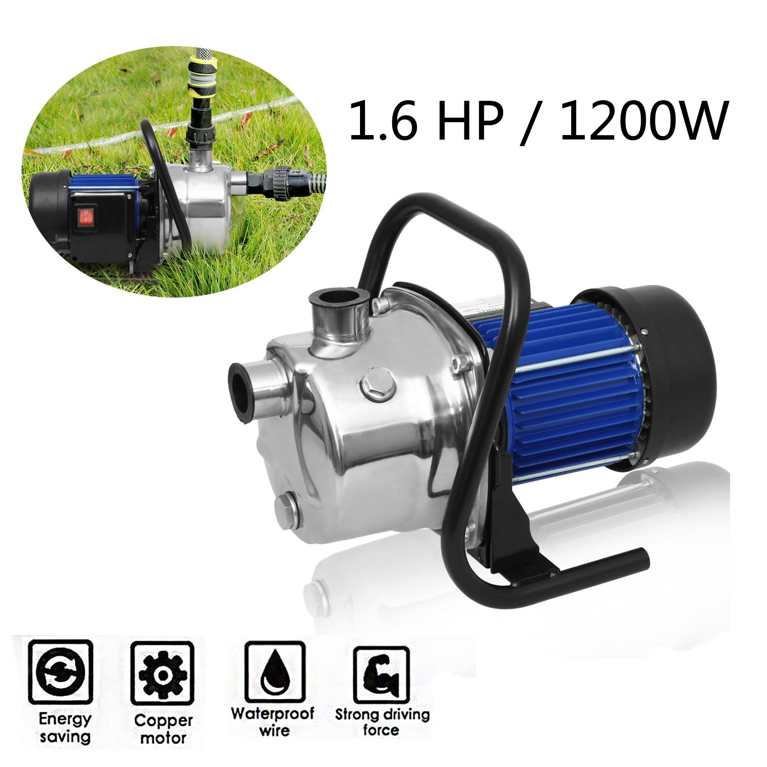 1.6HP 1200W Stainless Steel Water Pump Shallow Well Pump Electric Home Garden Lawn Sprinkling Booster Pump Transfer (US STOCK)