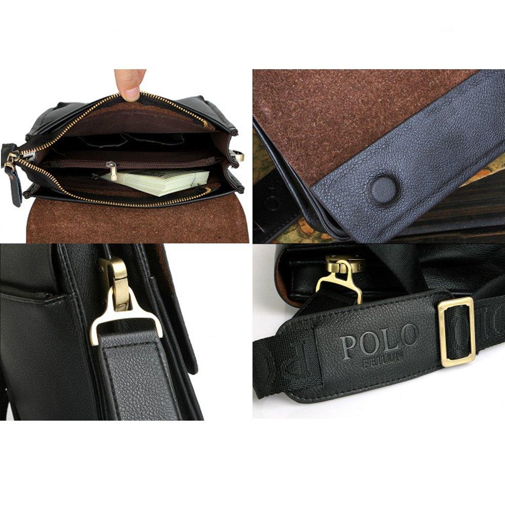 e345a8d6468 Amazon.com: POLO FEILUN Men's Messenger Bag Classic Vintage Genuine Leather Shoulder  Bags Crossbody Bags Briefcase Business Composite Leather Casual Bag ...