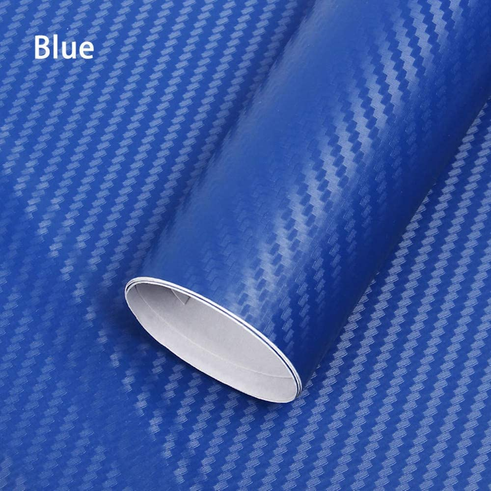 2pcs 3D High Gloss Carbon Fiber With Scraper Minleer 3D Carbon Fiber Car DIY Decals With Vinyl Bubble Free Air Release Car Wrap Film 152cm x 30cm Blue Vinyl Wrap Sticker