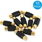 Electop 10 Pack Audio Video RCA Female to Female Coupler Adapter Gold