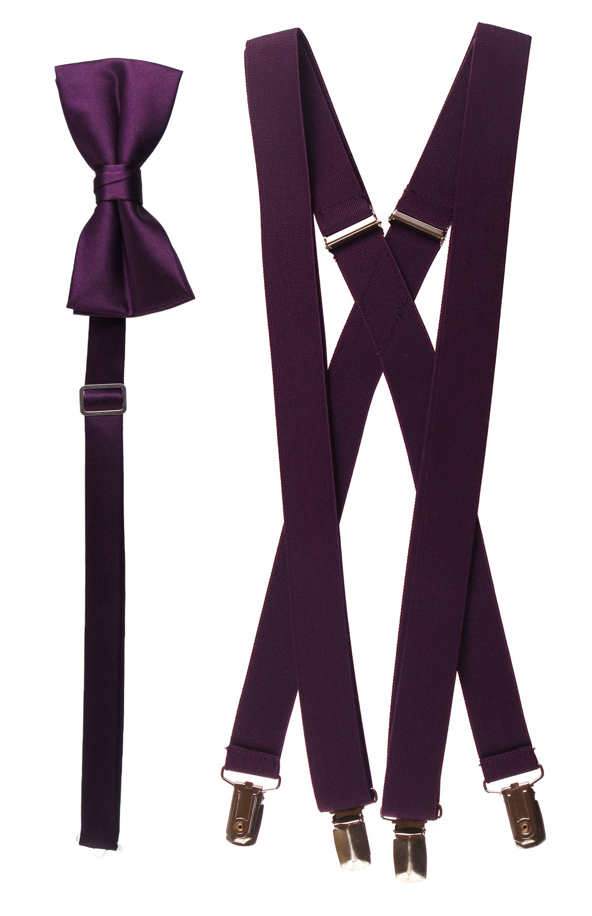 Tuxgear Mens Bow Tie and Suspender Set Combo, Berry, Men's 48 Inch (48'' Men's, Berry) by Tuxgear