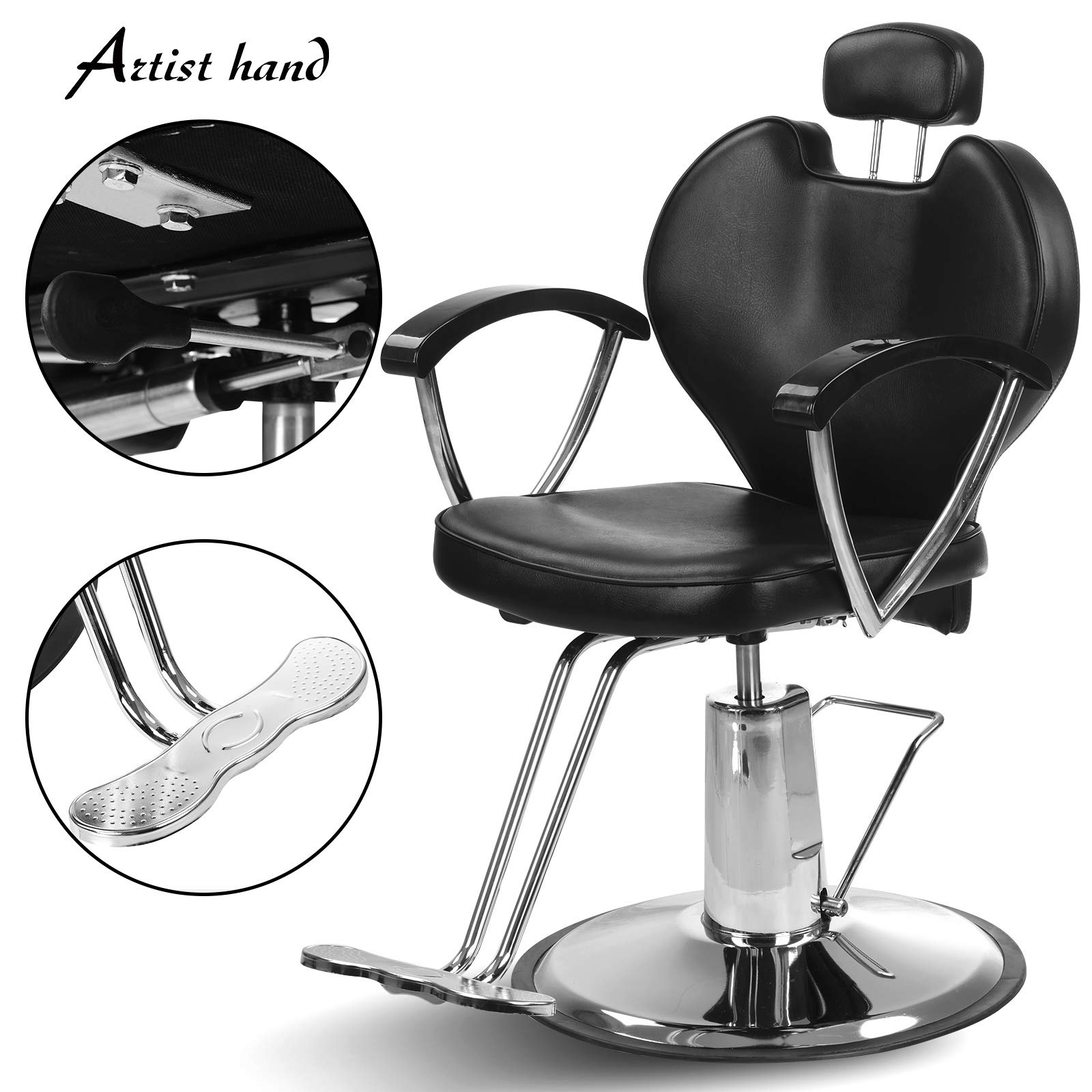 Artist Hand Hydraulic Reclining Barber Chair 20 Inch Width Hair Styling Chair Salon Chair Spa Equipment by Artist Hand