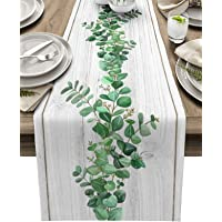 Table Runner 90 Inches Long for Dining Coffee Table, Rustic Green Leaves Filling Spring Burlap Rectangle Table Cloth…