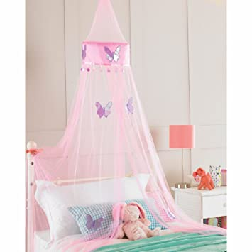 childrens girls bed canopy mosquito fly netting net 30x230cm pink butterfly - Girls Canopy Bed