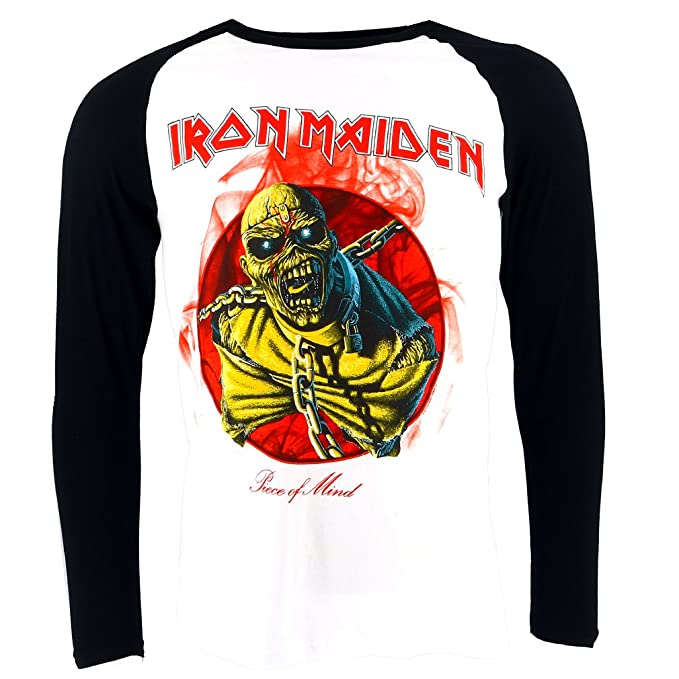 Iron Maiden Piece of Mind Raglan Camiseta Oficial con Licencia Music: Amazon.es: Ropa y accesorios