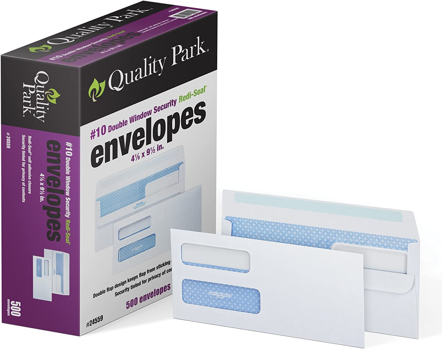 "Quality Park #10 Double-Window Self-Seal Security Envelopes, For Business Statements, Invoices, 4-1/8"" x 9-1/2"", White, 24-lb, 500 Per Box (QUA24559)"