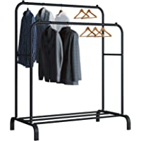 UDEAR Garment Rack Freestanding Hanger Double Rods Multi-functional Bedroom Clothing Rack, Black