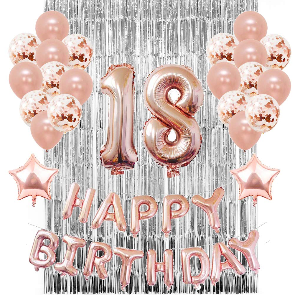 Rose Gold 18th Birthday Party Decorations Women Ladies Balloons Banners Age 18