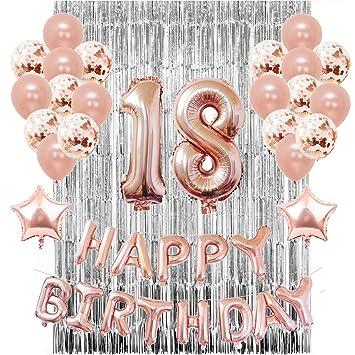 Sunarrive Decoracion Fiesta 18 Cumpleaños para Mujer Chica - Globos 18 Años Helio Oro Rosa
