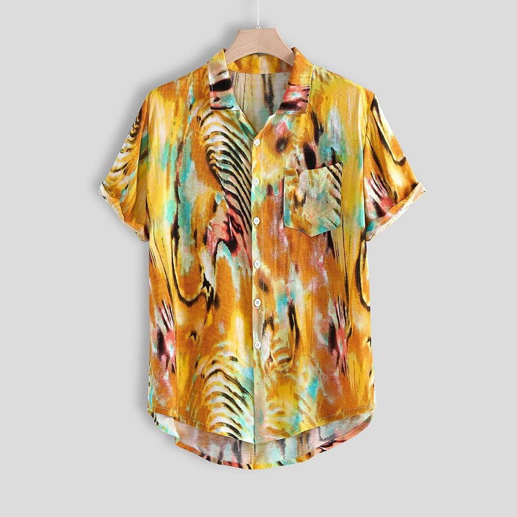 Varios-Botones Camisa Manga Corta-Amarillo-Medio//Grande