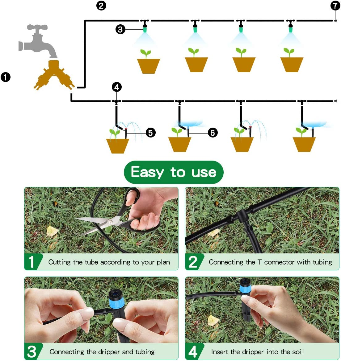 king do way 82Ft/25M Drip Irrigation Kits Garden Watering System with Y Valve, 20 Misting Nozzles 10 Drip Emitters 10 Dripper DIY Mist Cooling Irrigation System for Greenhouse, Patio, Lawn : Garden & Outdoor