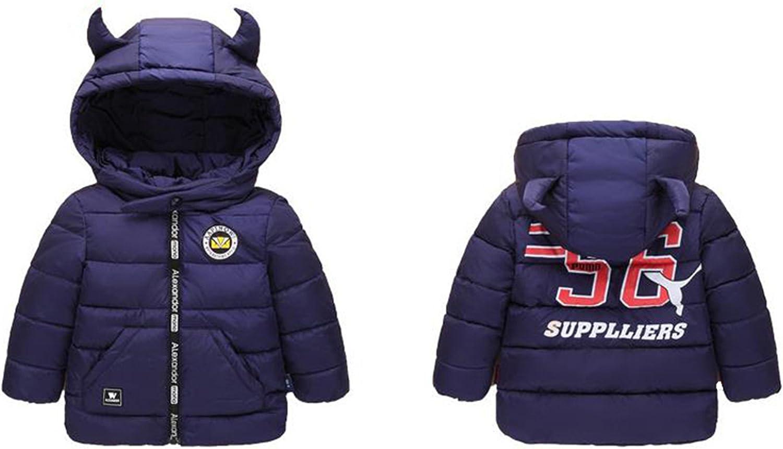 REWANGOING Little Boys Girls Kids Lightweight Horns Hooded Puffer Coat Down Jackets Outwear