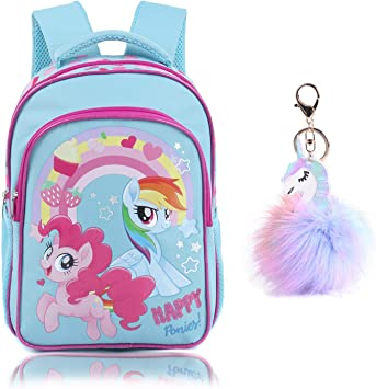 Backpacks for Teen Girls Lightweight Rainbow Water Resistant Toddler Kids School Backpack for Elementary with Headbands or Keychain