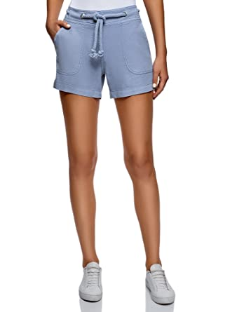 oodji Collection Damen Leinen-Shorts mit Ösen am Bund  Amazon.de  Bekleidung 79ddd56ce3