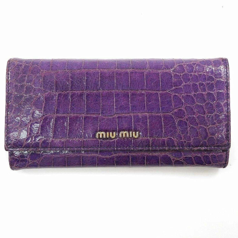 [ミュウミュウ] miumiu 長財布 クロコ調 レザー X10192 中古 B01BV39L0O