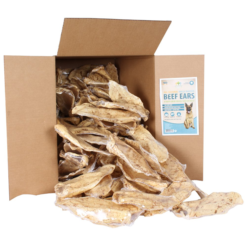 Pet's Choice Pharmaceuticals Cow Ear, Bully Stick Dusted, 100 Count Box, 1 Case, All Sizes