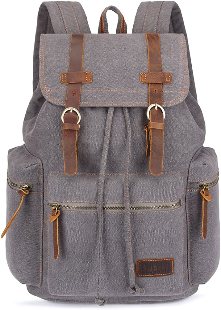 BLUBOON Canvas Vintage Backpack Leather Trim Casual Bookbag Men Women Laptop Travel Rucksack