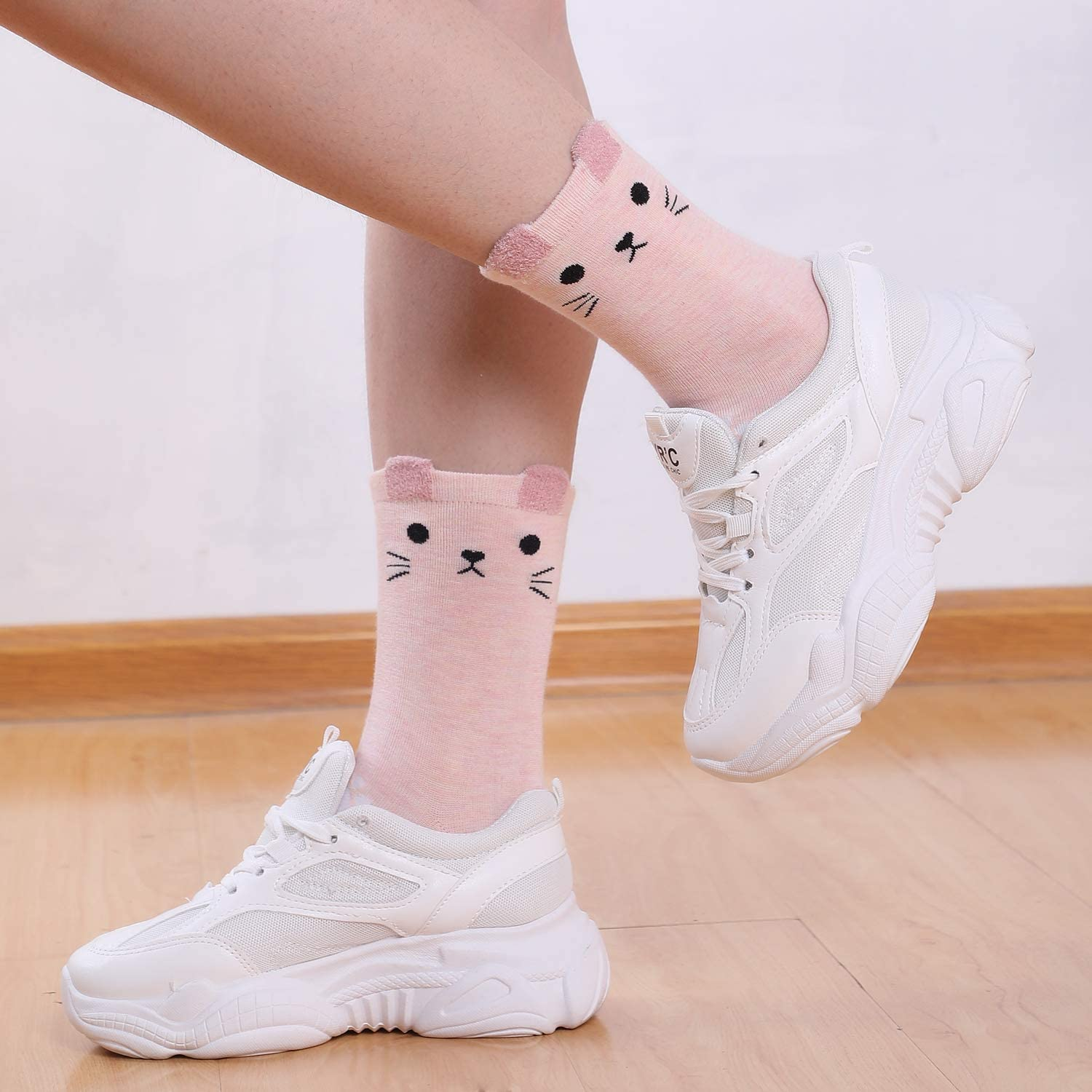 Jeasona Ladies Animal Fruit Socks Cute Funny Novelty Cotton Cat Gifts for Cat Lovers