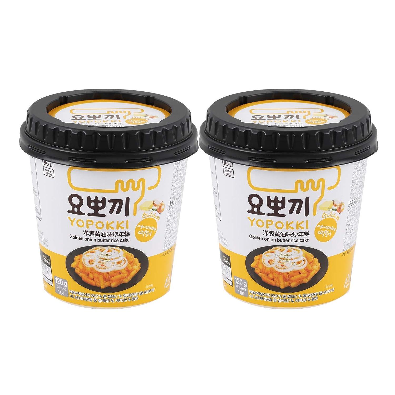Instant Topokki Rapokki Rice Cake with Ramen Noodles Popular Korean Food Various Flavors 떡볶이 라볶이 (Golden Onion Butter_Topokki, 120g 2 Cups (2 Servings))