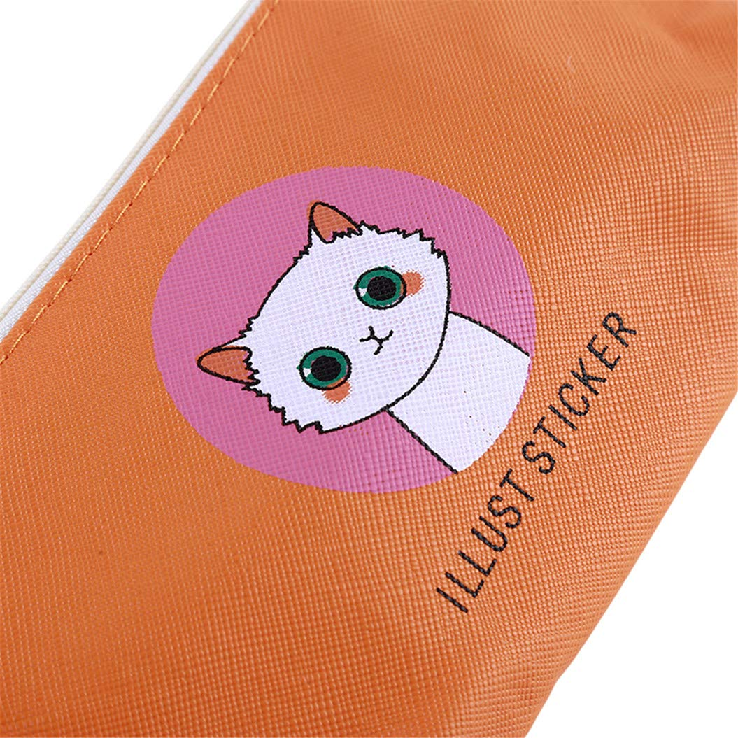 LZIYAN Cute Pencil Case Cartoon Cat Large Capacity Stationery Bag Pouch Case With Zipper Creative Pen Storage Bag Student Supplies,Orange by LZIYAN (Image #7)