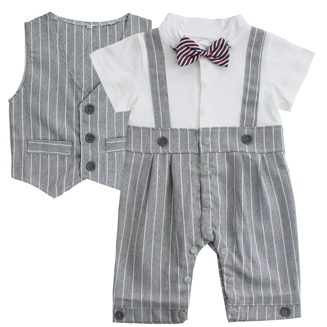 iEFiEL Newborn Baby Boys' 2PCS Gentleman Suit Bowtie Striped Romper with Waistcoat Formal Party Fancy Outfits